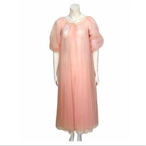 Vintage 60s Peignoir Sheer Pink Lace Robe Tie Neck